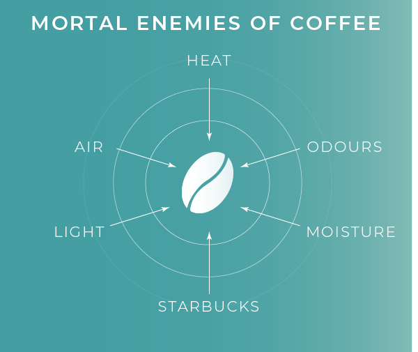 The enemies of coffee listed, showing why coffee storage is so important
